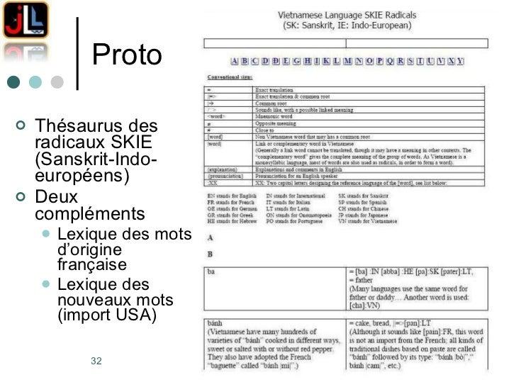 Proto <ul><li>Thésaurus des radicaux SKIE (Sanskrit-Indo-européens) </li></ul><ul><li>Deux compléments </li></ul><ul><ul><...