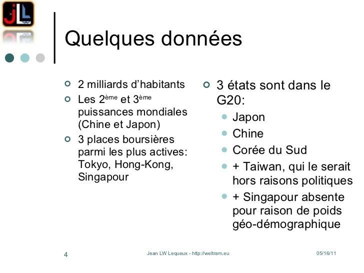 Quelques données <ul><li>2 milliards d'habitants </li></ul><ul><li>Les 2 ème  et 3 ème  puissances mondiales (Chine et Jap...