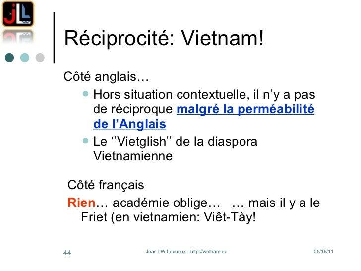 Réciprocité: Vietnam! <ul><li>Côté anglais… </li></ul><ul><ul><li>Hors situation contextuelle, il n'y a pas de réciproque ...