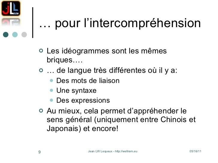 … pour l'intercompréhension <ul><li>Les idéogrammes sont les mêmes briques…. </li></ul><ul><li>…  de langue très différent...