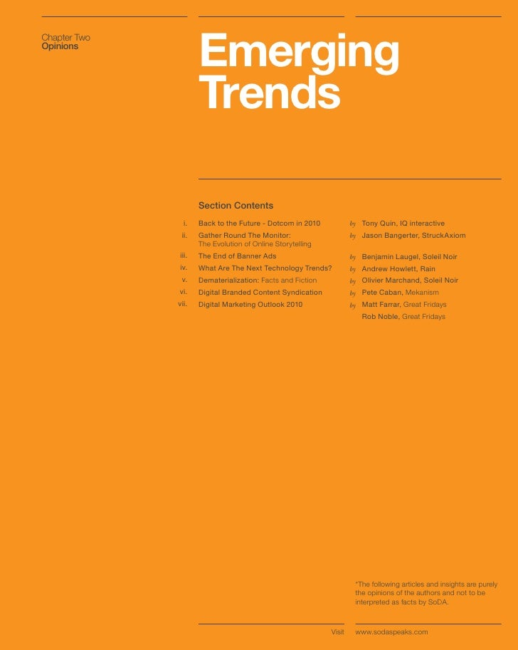 Emerging Chapter Two Opinions                          Trends                       Section Contents                 i.   ...