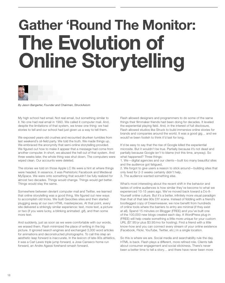 Gather 'Round The Monitor:      The Evolution of      Online Storytelling      By Jason Bangerter, Founder and Chairman, S...