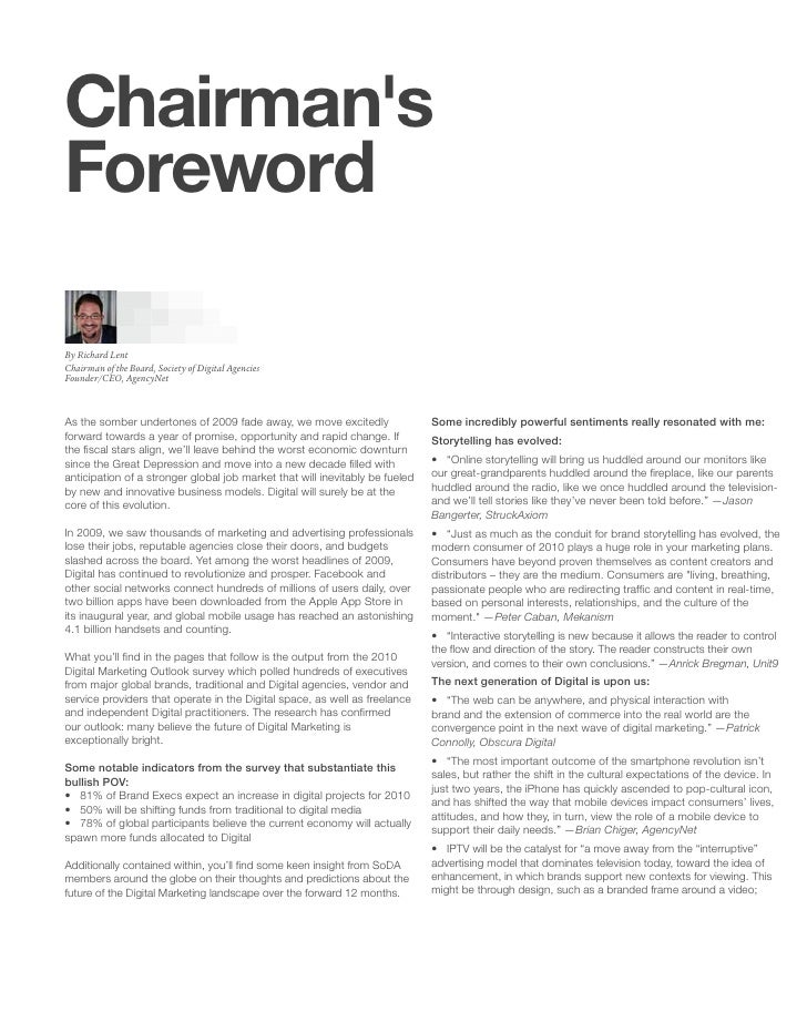 Chairman's Foreword  By Richard Lent Chairman of the Board, Society of Digital Agencies Founder/CEO, AgencyNet    As the s...