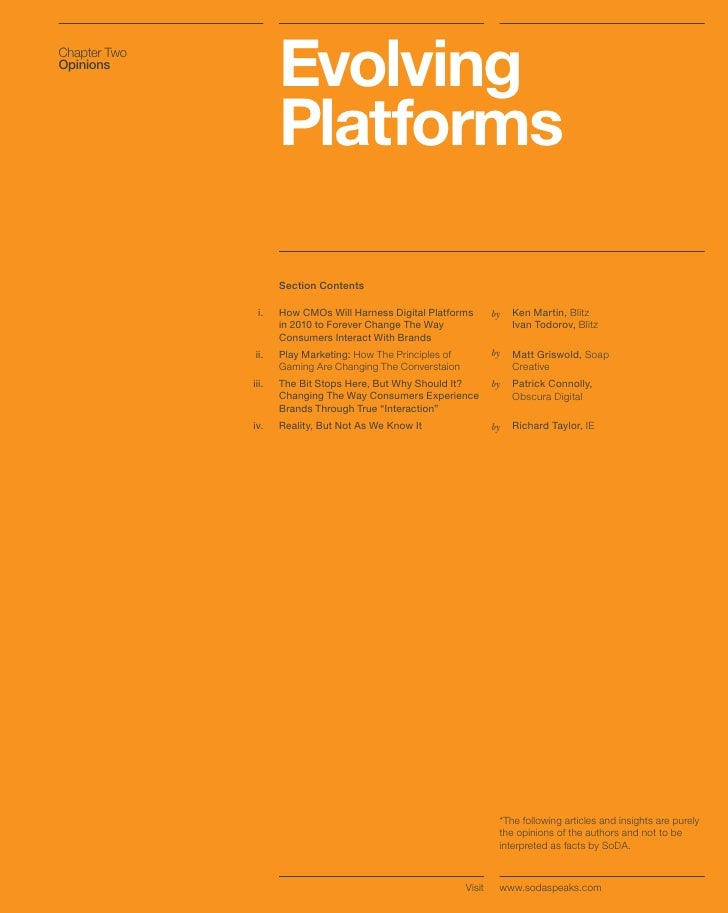Chapter Two Opinions                      Evolving                      Platforms                       Section Contents  ...