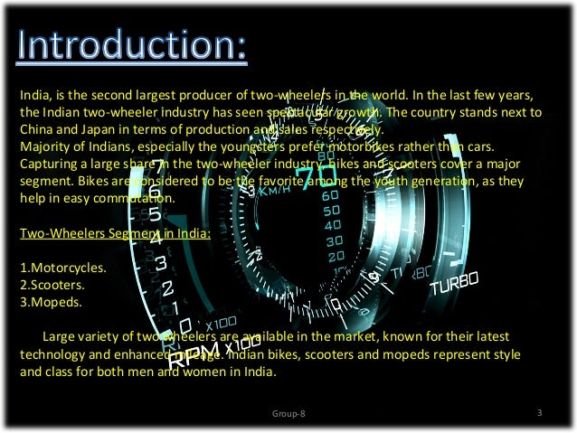 overview of two wheelers Current research for the identification of critical risk factors in power-two-wheeler safety has to deal with a number of open issues firstly, an important open issue for ptw safety investigation is the lack of exposure data.