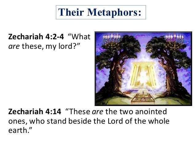 """Their Metaphors: Zechariah4:2-4""""What are these,mylord?"""" Zechariah4:14 """"Theseare thetwoanointed ones,whostan..."""