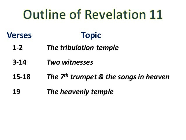 Verses Topic 1-2 Thetribulationtemple 3-14 Twowitnesses 15-18 The7th trumpet&thesongsinheaven 19 Theheavenlytem...