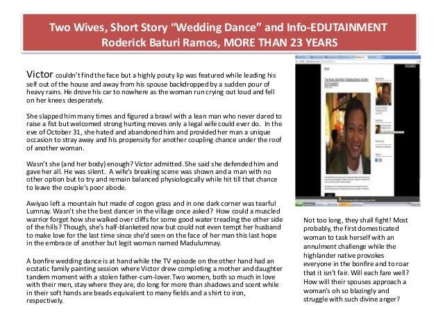 Two Wives Short Story Wedding Dance And Info EDUTAINMENT Roderick Baturi Ramos