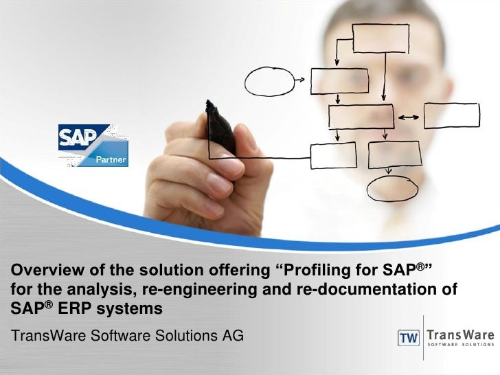"""Overview of the solution offering """"Profiling for SAP®""""for the analysis, re-engineering and re-documentation ofSAP® ERP sys..."""