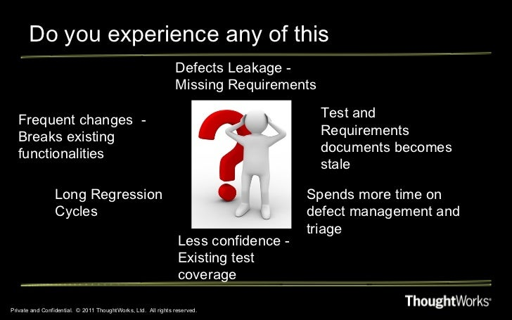 Do you experience any of this Private and Confidential.  © 2011 ThoughtWorks, Ltd.  All rights reserved. Long Regression C...