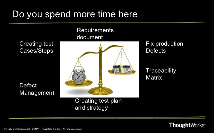Do you spend more time here Private and Confidential.  © 2011 ThoughtWorks, Ltd.  All rights reserved. Requirements docume...