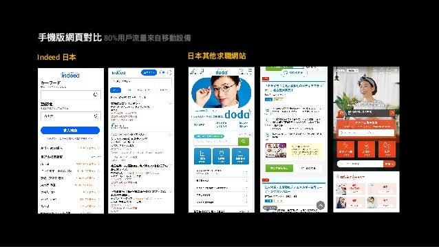 2018 ⼿手機版網⾴頁對比 80%⽤用⼾戶流量量來來⾃自移動設備 Indeed ⽇日本 ⽇日本其他求職網站