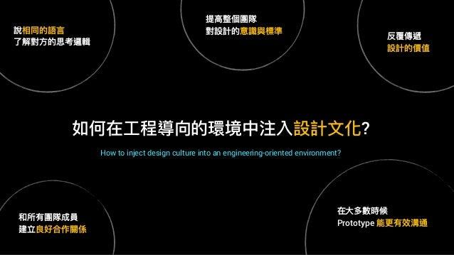如何在⼯工程導向的環境中注入設計⽂文化? How to inject design culture into an engineering-oriented environment? 說相同的語⾔言 了了解對⽅方的思考邏輯 和所有團隊成員 建立...