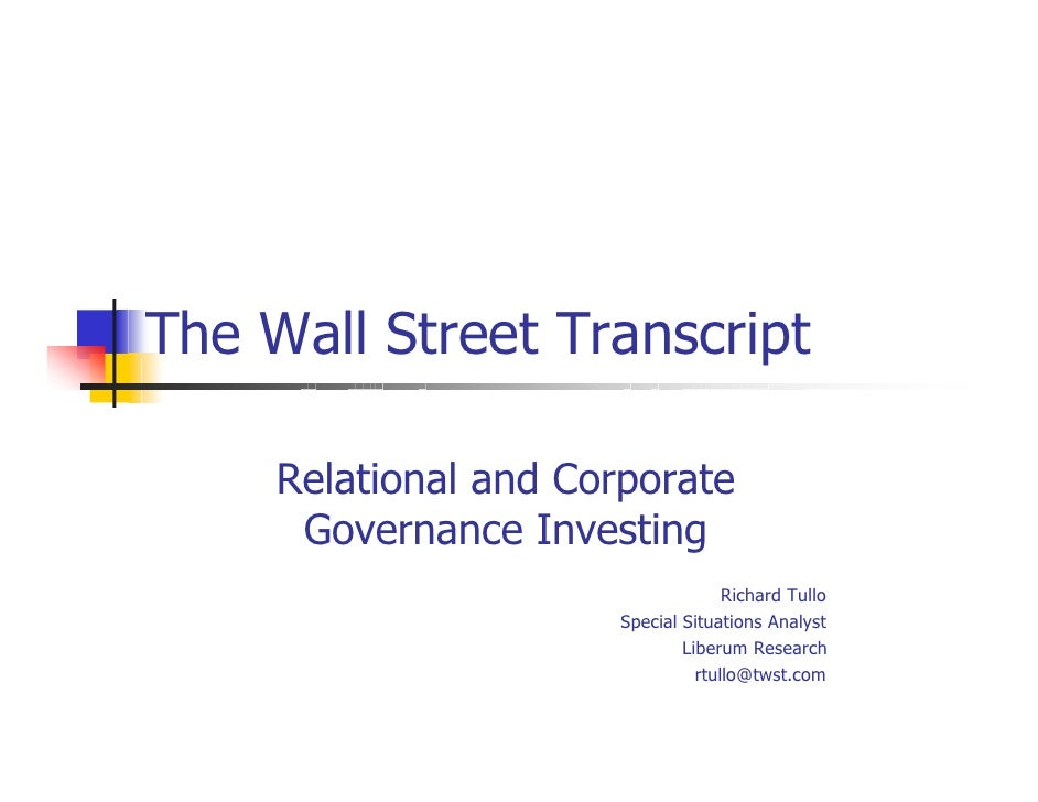 The Wall Street Transcript       Relational and Corporate       Governance Investing                                      ...