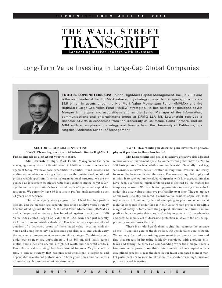 R E P R I N T E D              F R O M          J U L Y        1 1 ,         2 0 1 1       Long-Term Value Investing in La...