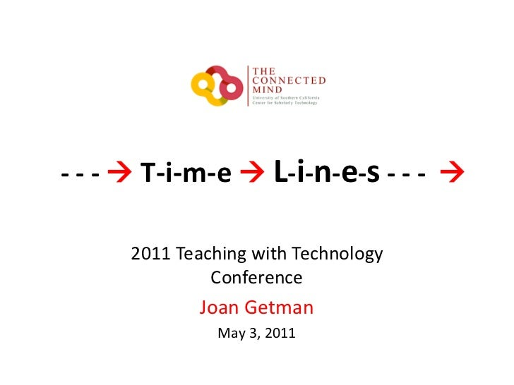 - - - T-i-m-e  L-i-n-e-s- - -  <br />2011 Teaching with Technology Conference<br />Joan Getman<br />May 3, 2011<br />