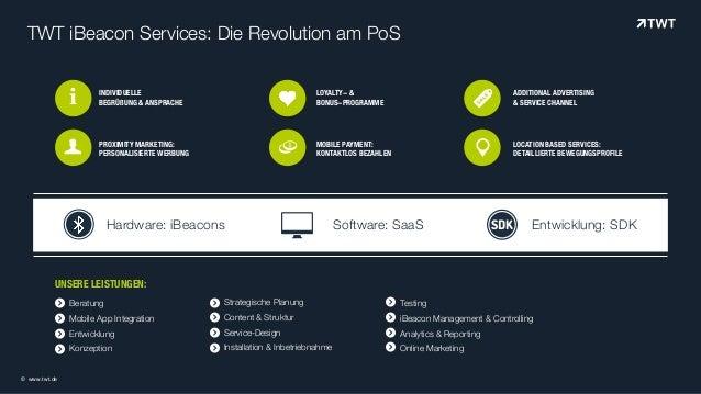 Beratung Mobile App Integration Entwicklung Konzeption TWT iBeacon Services: Die Revolution am PoS INDIVIDUELLE  BEGRÜßUN...