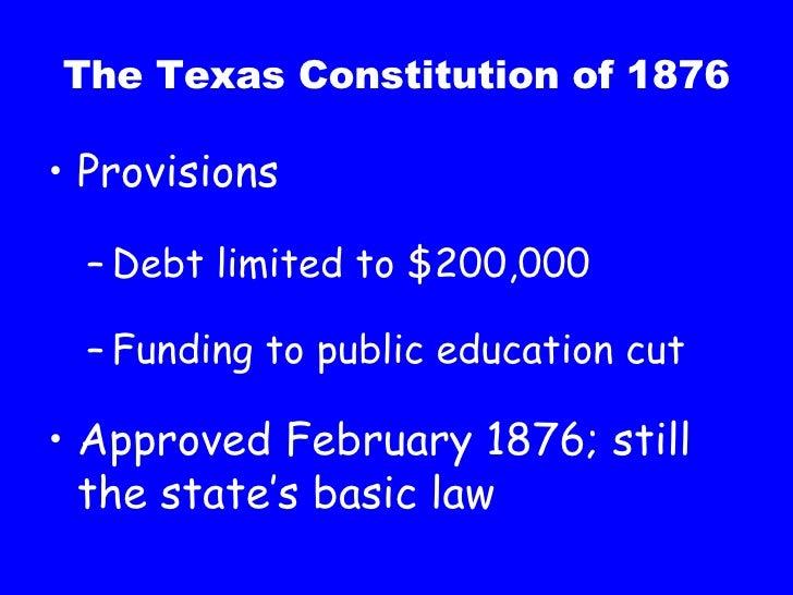 the texas constitution of 1876 essay