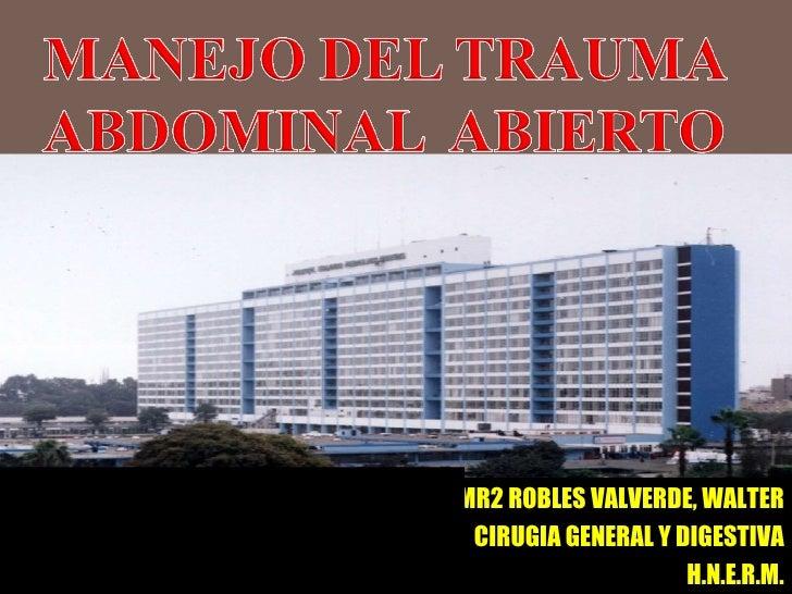 MR2 ROBLES VALVERDE, WALTER CIRUGIA GENERAL Y DIGESTIVA H.N.E.R.M. Dr Iván Vojvodic Hernández Jefe de Departamento Cirugia...