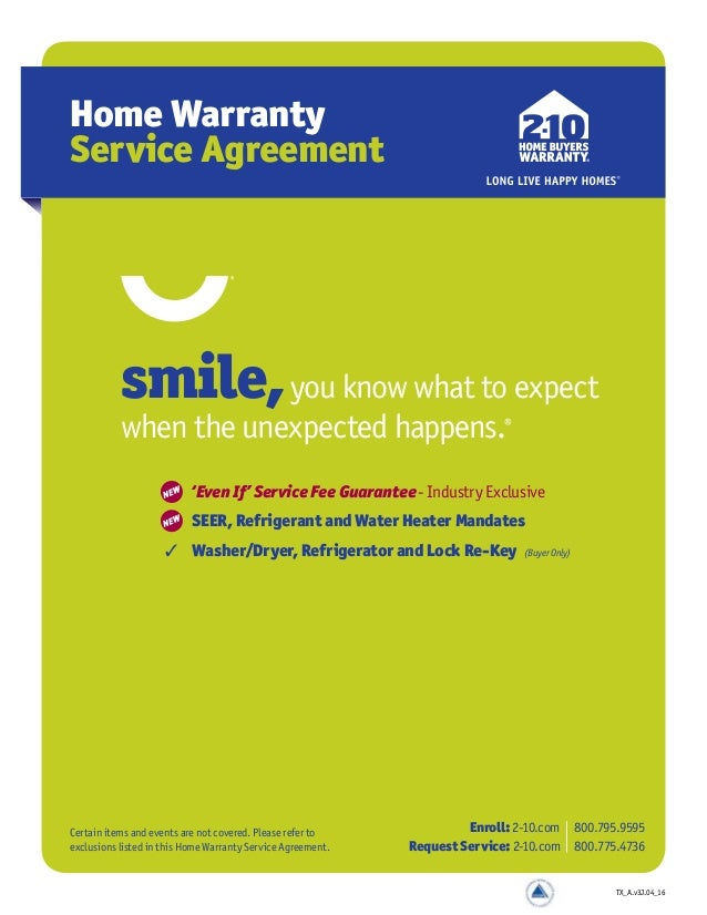 New Service Agreement 2 10 Home Ers Warranty