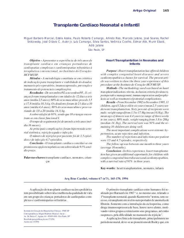 165 Transplante Cardíaco Neonatal e Infantil Artigo Original Miguel Barbero-Marcial, Estela Azeka, Paulo Roberto Camargo, ...