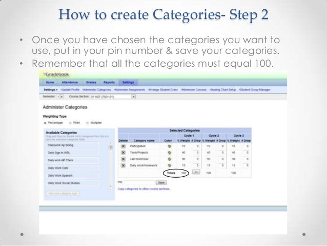How to create Categories- Step 2• Once you have chosen the categories you want to  use, put in your pin number & save your...