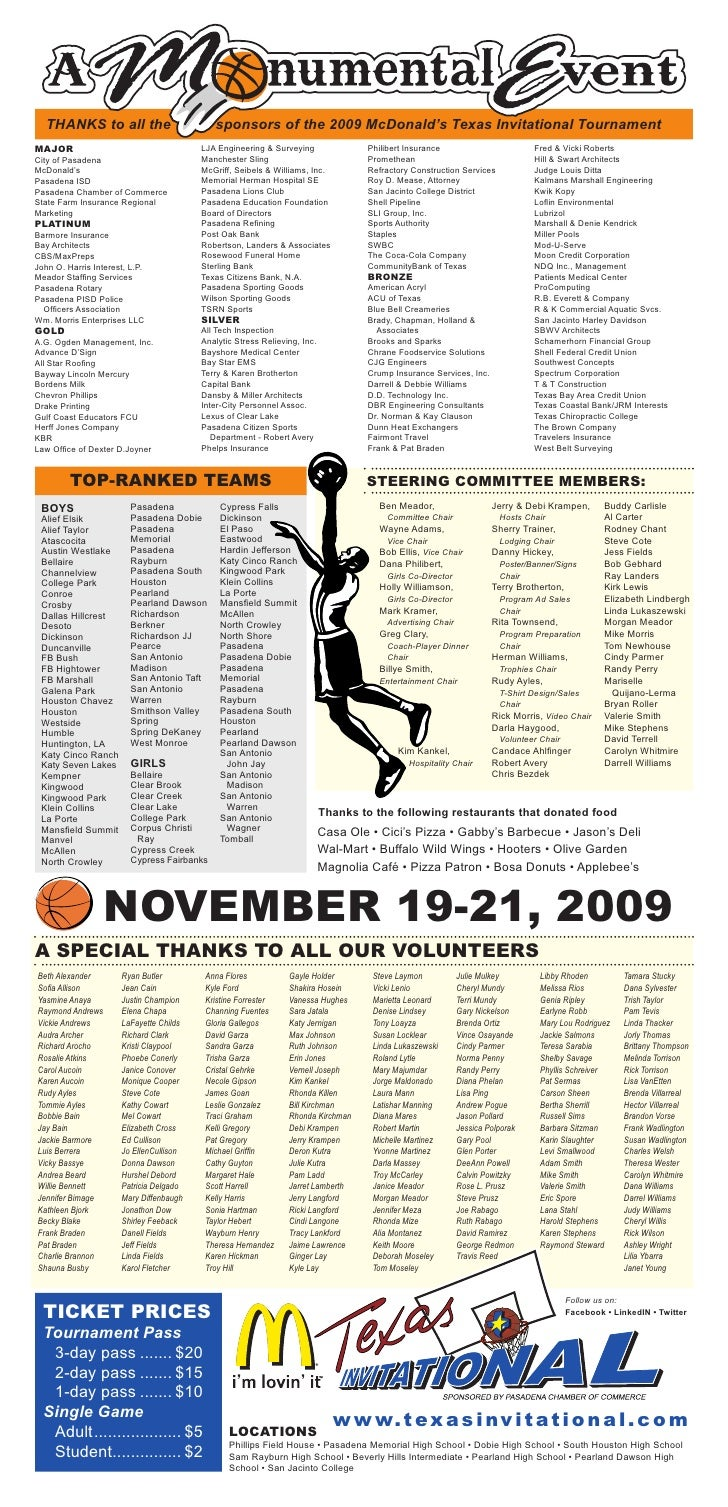 THANKS to all the                          sponsors of the 2009 McDonald's Texas Invitational Tournament MAJOR            ...