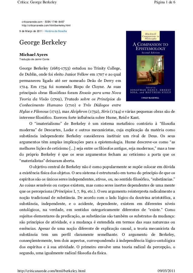 Crítica: George Berkeley                                                          Página 1 de 6   criticanarede.com · ISSN...