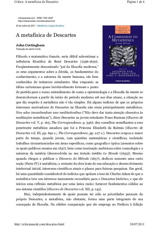 Crítica: A metafísica de Descartes                                                Página 1 de 6   criticanarede.com · ISSN...