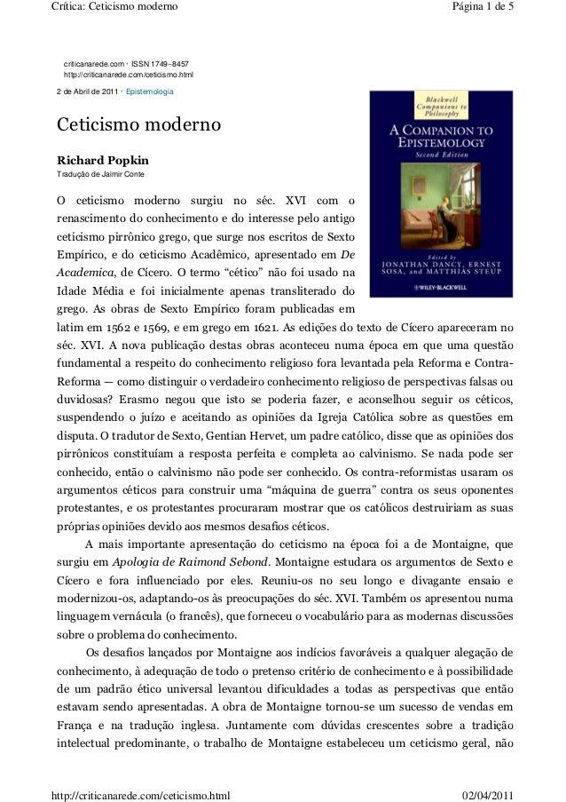 Crítica: Ceticismo moderno                                                     Página 1 de 5   criticanarede.com · ISSN 17...