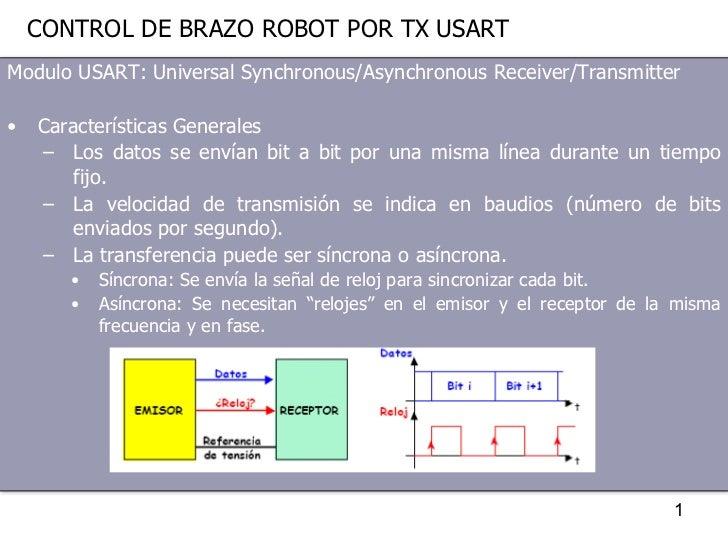 CONTROL DE BRAZO ROBOT POR TX USART <ul><li>Modulo USART: Universal Synchronous/Asynchronous Receiver/Transmitter </li></u...