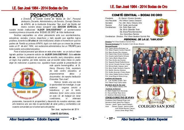 Revista albo sanjosefano bodas de oro 2014 for Articulo de cultura para periodico mural