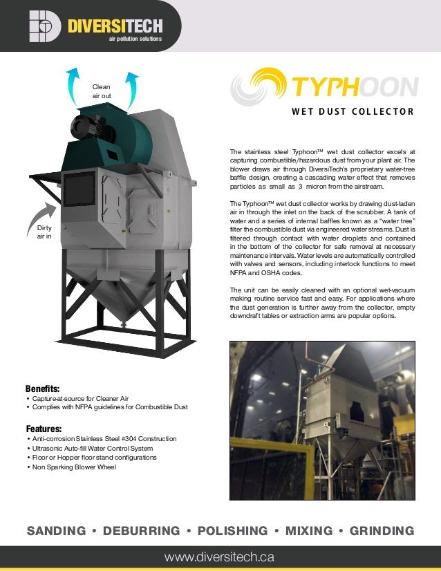 The stainless steel Typhoon™ wet dust collector excels at capturing combustible/hazardous dust from your plant air. The bl...