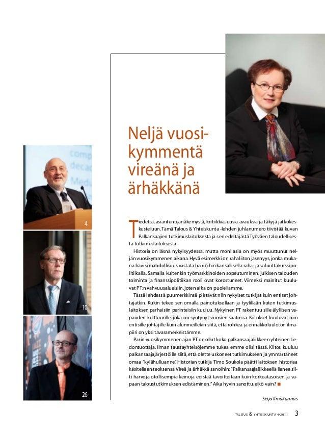 Talous ja Yhteiskunta 4/2011 Slide 3
