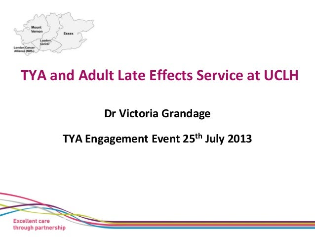 TYA and Adult Late Effects Service at UCLH Dr Victoria Grandage TYA Engagement Event 25th July 2013