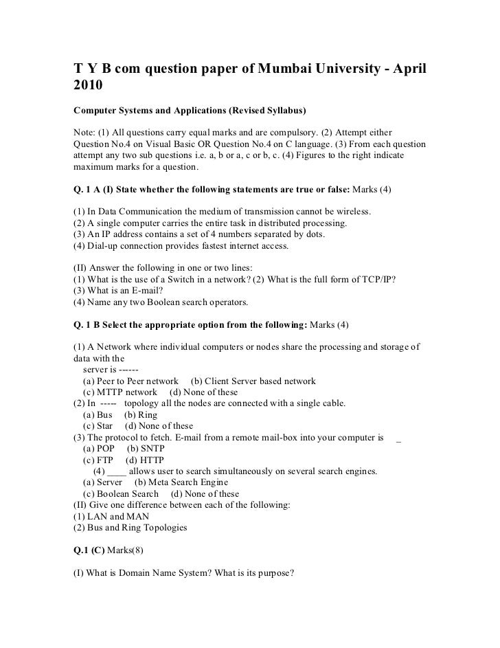 T y b com question paper of mumbai university