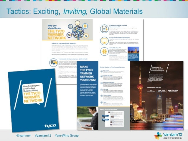 Tactics: Exciting, Inviting, Global Materials!   @yammer   !#yamjam12   Yam-Wins Group!