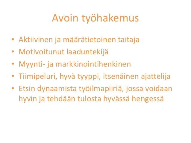 avoin työhakemus malli esimerkki Rovaniemi