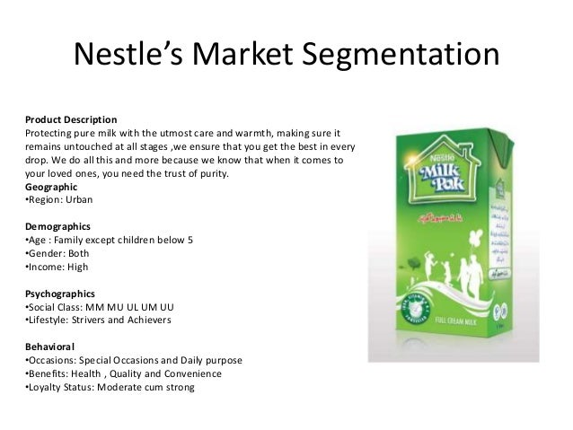 Segmentation strategies for nestle water