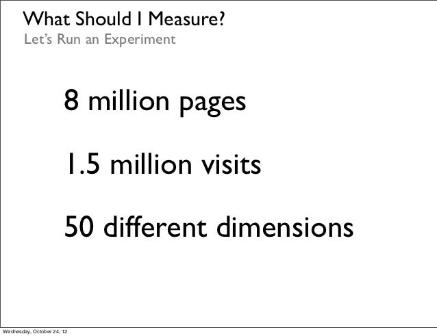 What Should I Measure?        Let's Run an Experiment                       8 million pages                       1.5 mill...