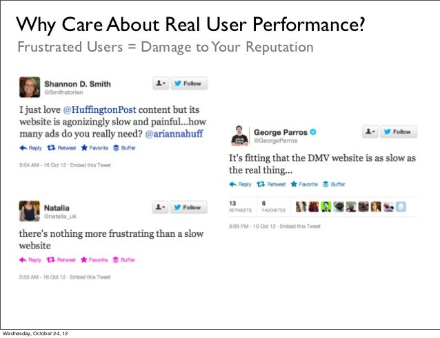 Why Care About Real User Performance?     Frustrated Users = Damage to Your ReputationWednesday, October 24, 12