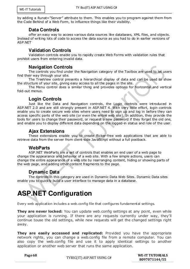 tybsc it asp net full unit 1,2,3,4,5,6 notes