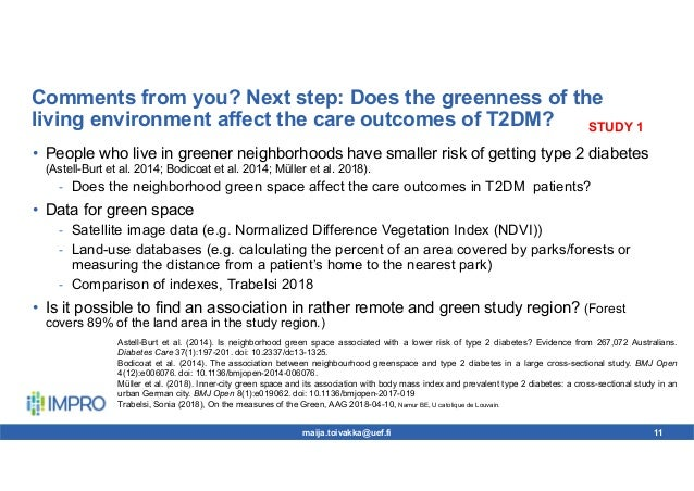 Comments from you? Next step: Does the greenness of the living environment affect the care outcomes of T2DM? • People who ...