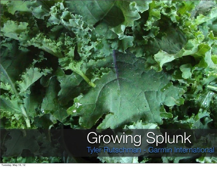 Growing Splunk                      Tyler Rutschman - Garmin InternationalTuesday, May 15, 12