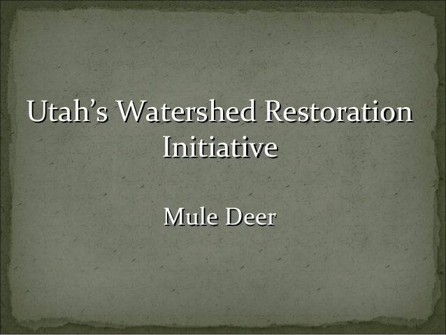 Utah's Watershed RestorationUtah's Watershed Restoration InitiativeInitiative Mule DeerMule Deer