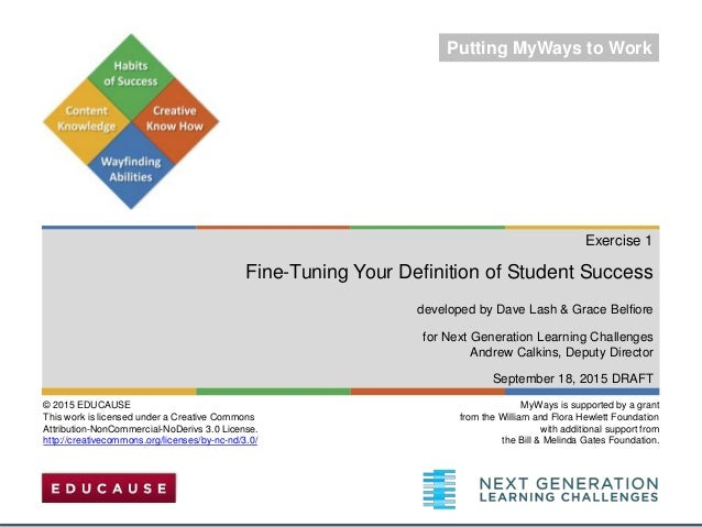 Exercise 1 Fine-Tuning Your Definition of Student Success developed by Dave Lash & Grace Belfiore for Next Generation Lear...