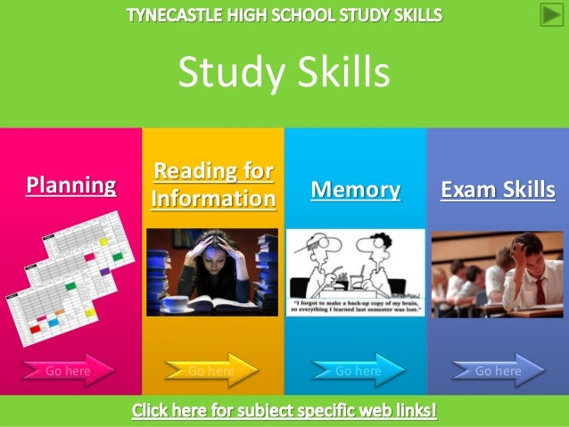 Planning Reading for Information Memory Exam Skills Go here Go here Go here Go here Study Skills