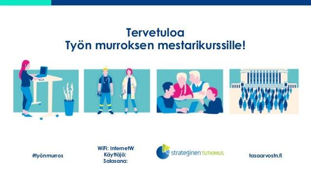 Tervetuloa Työn murroksen mestarikurssille! #työnmurros tasaarvostn.fi WiFi: InternetW Käyttäjä: Salasana: