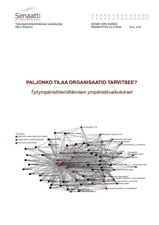 Työympäristökehittämisen asiantuntija KIINKO KIPA-KURSSI Päivi Hietanen PROJEKTITYÖ 15.5.2009 Sivu 1/33 PALJONKO TILAA ORG...