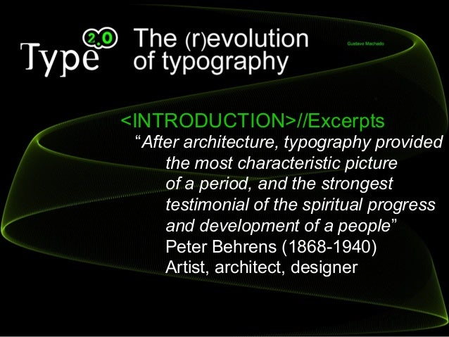 Type 2.0 - The (R)Evolution of Typography Slide 3